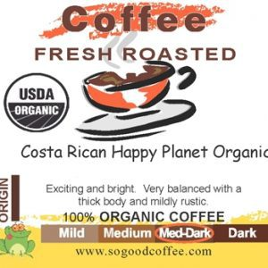 Costa Rican Happy Planet Organic Coffee